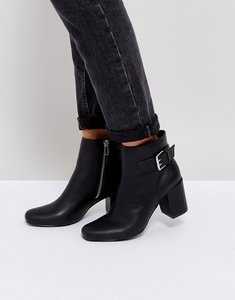Read more about London rebel buckle mid heel boot - black pu