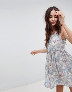 Read more about Brave soul faye smock dress in vintage floral print - cloud blue