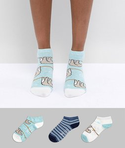 Read more about Sock shop sloth trainer sock 3 pack - blue