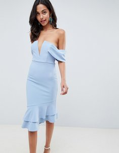 Read more about Asos design v bar textured midi bodycon pephem dress - blue