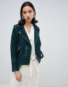 Read more about Selected leather biker jacket - green