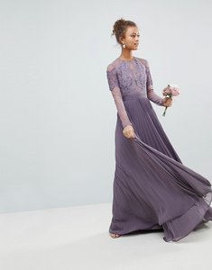 Read more about Asos bridesmaid long sleeve lace pleated maxi dress - dusty purple