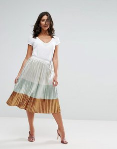 Read more about Liquorish metallic pleated midi skirt - metallic