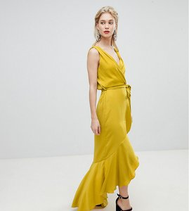Read more about Flounce london wrap front satin maxi dress - yellow