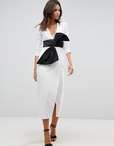 Read more about Asos deep plunge origami bow front maxi dress - ivory