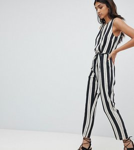 Read more about Glamorous tall jumpsuit with tie waist in stripe - black stripe