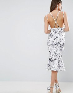 Read more about Asos mono floral strappy cross back pephem midi dress - multi