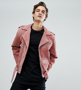 Read more about Reclaimed vintage inspired real suede biker jacket - dusty pink
