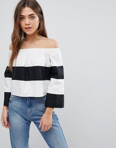 Read more about After market stripe off shoulder top - white black