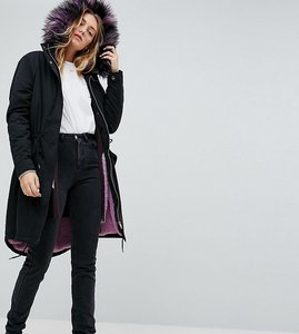Read more about Noisy may tall parka coat with faux fur lining - black