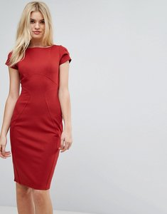 Read more about Closet london pencil dress with ruched cap sleeve - rust