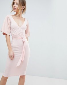 Read more about Silver bloom wrap front midi dress with open back and tie - pink