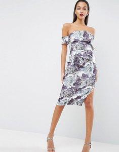 Read more about Asos marble print one shoulder clean scuba midi dress - multi