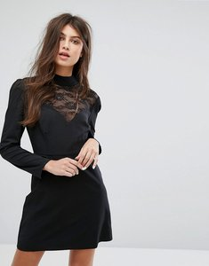 Read more about Fashion union long sleeve dress with high neck in lace - black