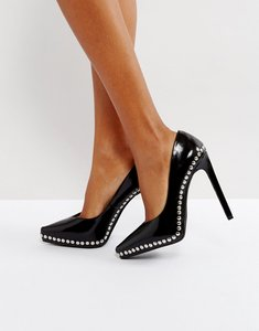Read more about Jeffrey campbell gilma black studded leather court shoes - black