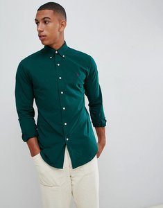 Read more about Polo ralph lauren slim fit poplin shirt player logo button down in dark green - college green
