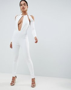 Read more about In the style sarah ashcroft cut out plunge jumpsuit - white
