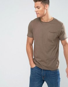 Read more about Brave soul basic raw edge t-shirt - beige