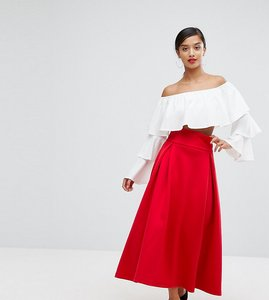 Read more about Asos petite high waisted scuba midaxi prom skirt - red