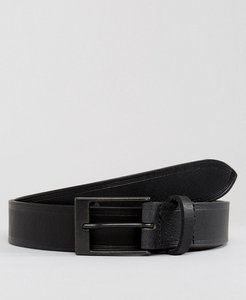 Read more about Asos smart leather slim belt in black with edge emboss - black
