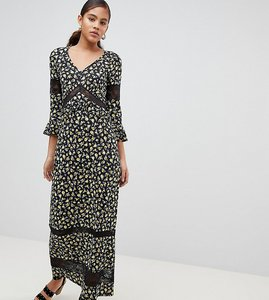 Read more about Asos design tall maxi tea dress in floral print with lace inserts - multi