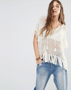 Read more about Denim supply by ralph lauren fringed sheer knitted poncho - cream