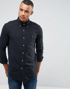 Read more about Polo ralph lauren pique shirt buttondown slim fit in black - black
