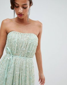Read more about Asos edition scattered sequin bandeau mesh maxi dress - mint