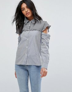 Read more about Walter baker marvin cut out sleeve gingham stripe shirt - blue white stripe