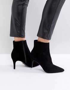 Read more about Dune london pull on heeled sock boot in black leather - black