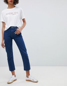 Read more about Calvin klein jeans high rise straight leg jean with raw hem - brook blue