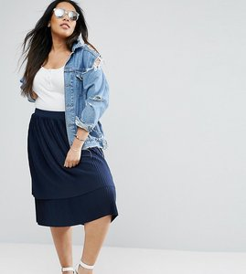 Read more about Asos curve double layer pleated midi skirt - navy