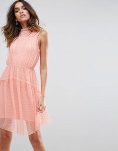 Read more about Asos dobby skater mini dress with strap back - neon pink