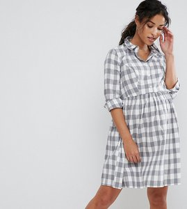 Read more about Asos maternity shirt dress in gingham check - grey check