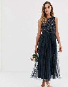 Read more about Maya bridesmaid sleeveless midaxi tulle dress with tonal delicate sequin overlay in navy
