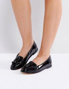 Read more about London rebel fringe tassle loafers - blk patent