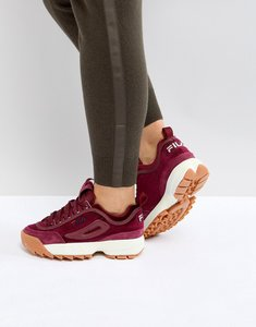 Read more about Fila disruptor trainer in burgundy velvet - burgundy