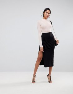 Read more about Asos design midi skirt with front split - black