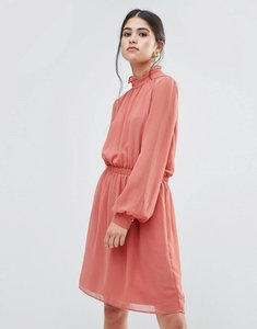 Read more about Traffic people dress with frill neck - dusky pink