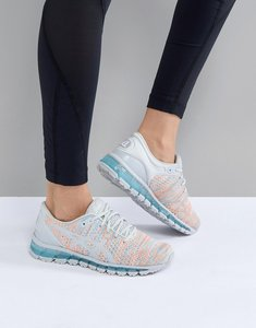 Read more about Asics running gel quantum 360 knit trainers in grey and orange - multi