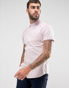 Read more about Asos casual slim oxford shirt with stretch in pale pink - pink