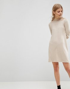 Read more about Asos dress in knit with high neck in cashmere mix - stone