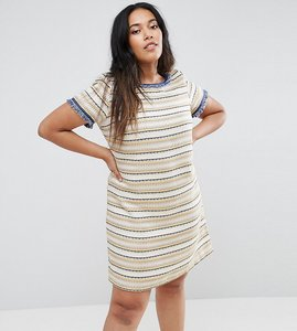 Read more about Elvi textured shift dress - yellow navy