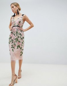 Read more about Asos design floral embroidered pencil midi dress - floral