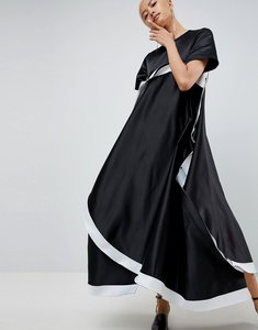 Read more about Asos white extreme curved hem bonded dress - black