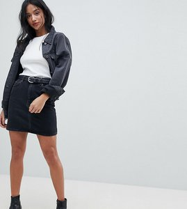 Read more about Asos petite denim original high waisted skirt in washed black - black