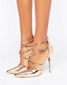 Read more about Office spears rose gold cross strap heeled shoes - rose gold mirror