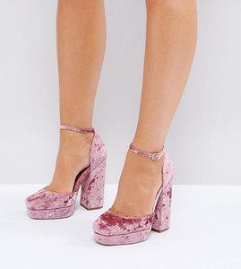 Read more about Asos ping wide fit platform heels - pink velvet