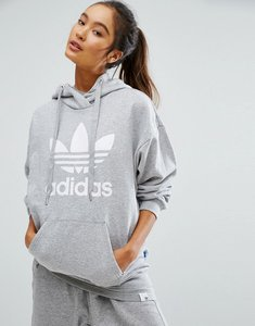 Read more about Adidas originals grey trefoil hoodie - medium grey heather