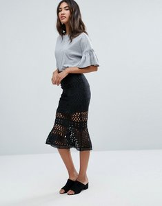 Read more about Glamorous lace frill hem skirt - black